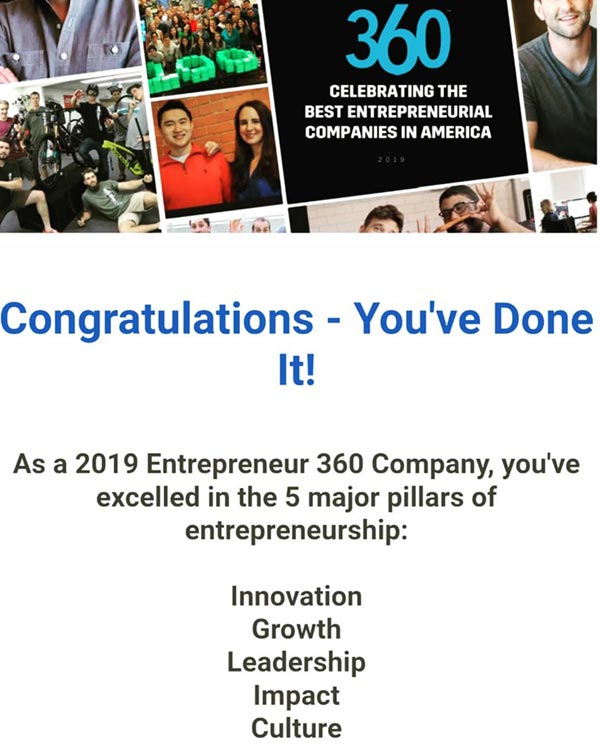 Entrepreneur magazine award